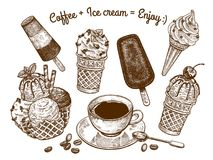 Ice cream and a cup of coffee. Variations of ice cream and a cup of coffee with a dessert spoon. The inscription `coffee and ice cream is enjoy`. Hand drawing Stock Image
