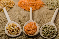 Variations lentils, lentils bio Royalty Free Stock Photography