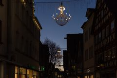 Variations on a lustre at christmas market blue hour Royalty Free Stock Photos