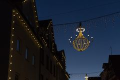 Variations on a lustre at christmas market blue hour Stock Photo