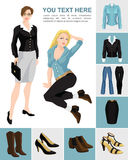 Variations models of shoes and clothes Stock Photography