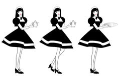 Variations of a posing girl as a maid Royalty Free Stock Photography
