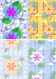 Variations seamless background with flowers and bu. Tterflies on a light background Royalty Free Stock Images