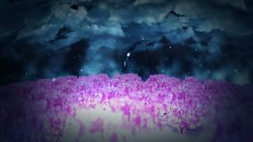 Spring forest landscape illustration, Abstract nature background, Cherry blossom loop animation, royalty free illustration