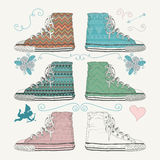 Variations of Sketched Sneakers. Vector Royalty Free Stock Image