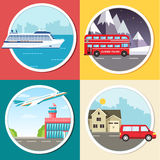 Variations transport of travel vacation tour infographic. Cruise, bus, flying on plane, car journey trip background Royalty Free Stock Image