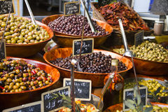 Olives in a street market Stock Image