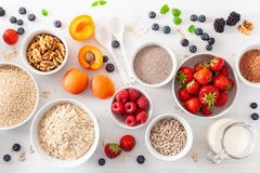 Variaty of raw cereals, fruits and nuts for breakfast. Oatmeal f Royalty Free Stock Photo