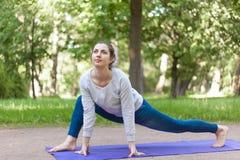 Variazione facile della posa di yoga della lucertola in vicolo del parco Fotografia Stock Libera da Diritti