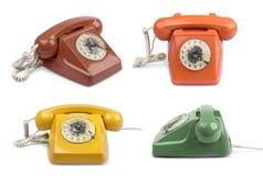 Variazioni d'annata di colore del telefono fissate Fotografia Stock Libera da Diritti