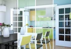 Variazioni di colore di Splitted di un interior design moderno del sottotetto Immagine Stock Libera da Diritti