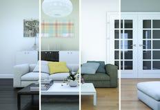 Variazioni di colore di Splitted di un interior design moderno del sottotetto Fotografie Stock Libere da Diritti