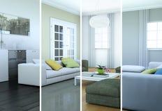 Variazioni di colore di Splitted di un interior design moderno del sottotetto Fotografie Stock