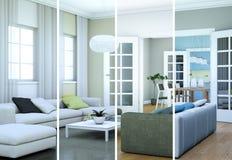 Variazioni di colore di Splitted di un interior design moderno del sottotetto Fotografia Stock Libera da Diritti