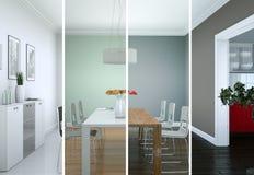 Variazioni di colore di Splitted di un interior design moderno del sottotetto Fotografia Stock
