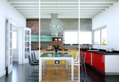 Variazioni di colore di Splitted di una cucina moderna con una bella progettazione Fotografia Stock