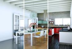 Variazioni di colore di Splitted di una cucina moderna con una bella progettazione Fotografia Stock Libera da Diritti