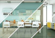 Variazioni di colore di Splitted di una cucina moderna con una bella progettazione Immagini Stock Libere da Diritti