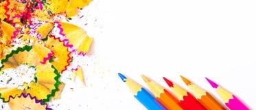 Varicolored карандаши и shavings масленицы Стоковая Фотография RF