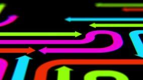 Varicolored arrows on black surface, 3d illustration Stock Photos