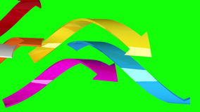Varicolored arrows on green background, 3D animation, seamless loop stock footage