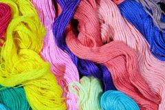 Varicolored cotton threads Royalty Free Stock Images
