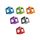 Varicolored Cubes. Nine different varicolored cubes, pseudo-3D geometric figures Royalty Free Stock Photos