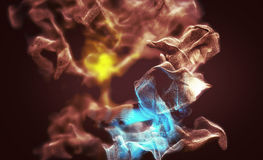Varicolored dust storm, abstract 3d illustration. 3d illustration on the abstract theme of beautiful particles Royalty Free Stock Images