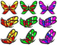 Varicolored patterned butterfly set. Stock Photo