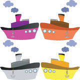 Varicolored Ships Royalty Free Stock Images