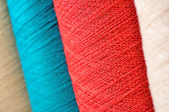 Varicolored spools thread macro Royalty Free Stock Images