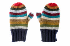 Varicolored striped mittens Royalty Free Stock Images
