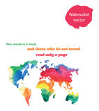 Varicolored watercolour world map Stock Images