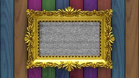 Varicolored wood on background. Tv noise and green chroma key plays on the screen in ornate gold picture frame. 3D. Tv noise on the screen in gold picture frame stock footage