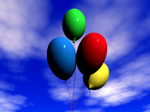 Varicoloured balloons. Fly on air on a background sky stock illustration