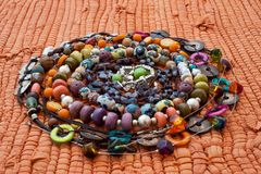 Varicoloured beads in a spiral Royalty Free Stock Photo