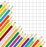 Varicoloured Bleistifte auf einem Hintergrund ein vierwertiges Blatt lizenzfreie abbildung