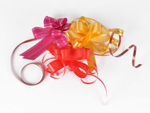 Varicoloured bows for the decoration of gifts Royalty Free Stock Images
