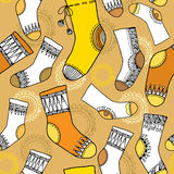 Varicoloured collection of funny socks. Seamless pattern Stock Image