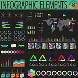 Varicoloured dark world infographics. Orange dark world infographics with people. infographic concept Royalty Free Stock Photography
