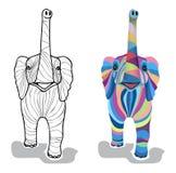 Varicoloured dekorativer Babyelefant lizenzfreie abbildung