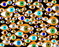 Varicoloured eye look at world-metaphore Stock Images