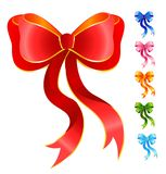 Varicoloured festive bows. Set of varicoloured festive bows for a design christmas gifts Royalty Free Stock Image