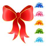 Varicoloured festive bows. Set of varicoloured festive bows for a design christmas gifts Royalty Free Stock Photos
