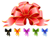 Varicoloured festive bows. Set of varicoloured festive bows for a design christmas gifts Royalty Free Stock Photo