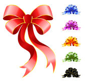 Varicoloured festive bows. Set of varicoloured festive bows for a design christmas gifts Stock Image