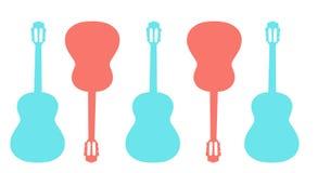 Varicoloured gitarrer är på en vit bakgrund Royaltyfri Foto