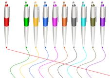 Varicoloured markers. Stock Image