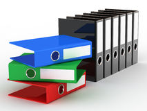 Varicoloured office files. Office files on white background royalty free illustration