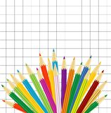 Varicoloured pencils on a background a tetradic sheet Stock Photo
